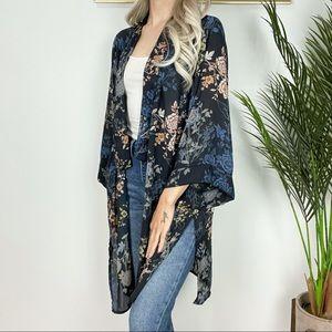 Tahari Floral Print Kimono Style Cardigan